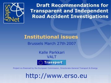Towards a coordinated pan-European road accident ... - ERSO
