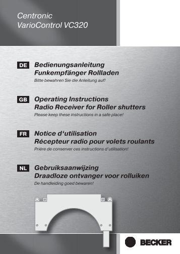 Becker Centronic VarioControl VC320 Anleitung - auf enobi.de