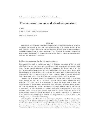 Discrete-continuous and classical-quantum
