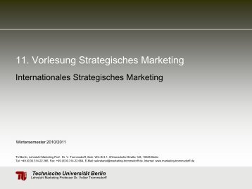 11. Vorlesung Strategisches Marketing Internationales - TU Berlin