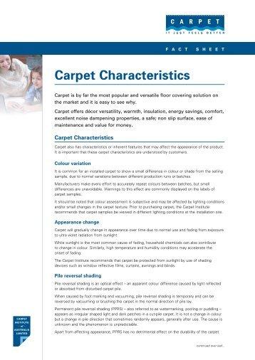 Carpet Characteristics fact sheet - Carpet Institute of Australia