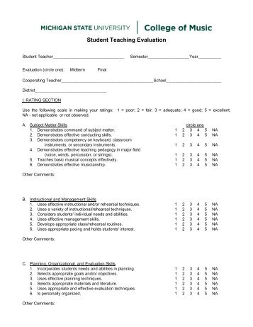 evaluation form [PDF] - MSU College of Music - Michigan State ...