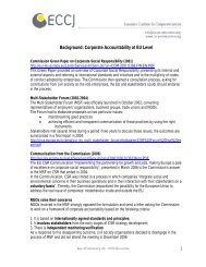 Corporate Accountability at EU Level - European Coalition for ...