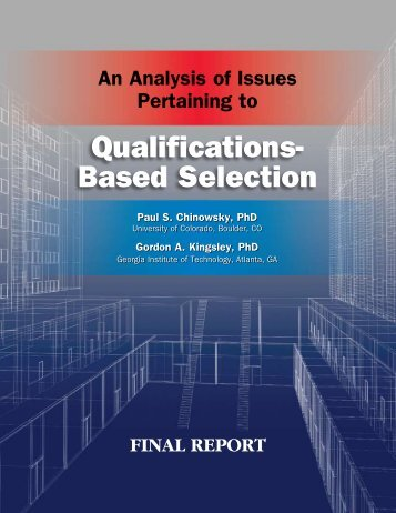 An Analysis of Issues Pertaining to Qualifications-Based Selection