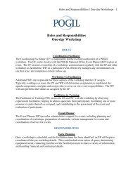 Roles and Responsibilities One-day Workshop - Pogil