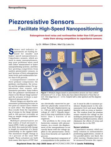 Piezoresistive Sensors - Mad City Labs