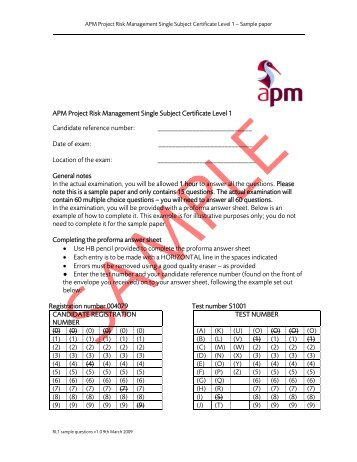 Mpm master in project management sample test paper level 1 sample paper association for project management yelopaper Gallery