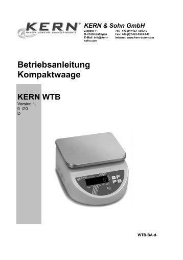 Betriebsanleitung Kompaktwaage - KERN & SOHN GmbH