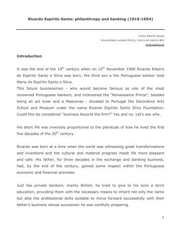 Ricardo Espirito Santo - European Business History Association