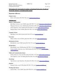 Information for international students at Karlstad University, Faculty ...
