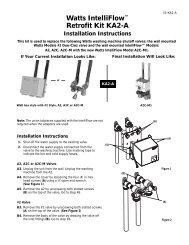 Watts IntelliFlow™ Retrofit Kit KA2-A Installation ... - Clean My Water