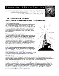 The Transmission Toolkit: - Prometheus Radio Project