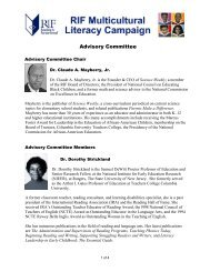 Multicultural Advisory Committee - Reading Is Fundamental