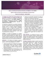 Appel de candidature - Secrétariat à la condition féminine Québec