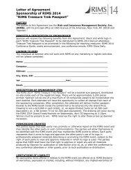 """Letter of Agreement Sponsorship of RIMS 2014 """"RIMS Treasure ..."""