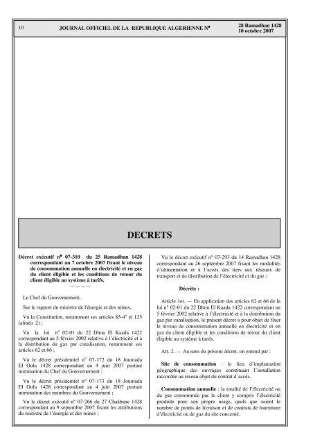 Décret exécutif n°07-310 - Ministère de l'énergie et des mines