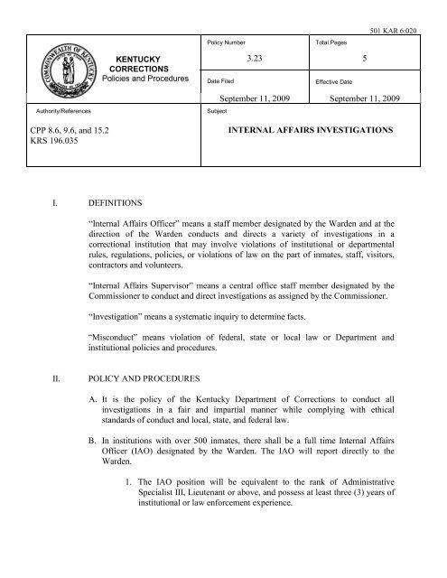 3 23 Internal Affairs Investigations - Kentucky Department of