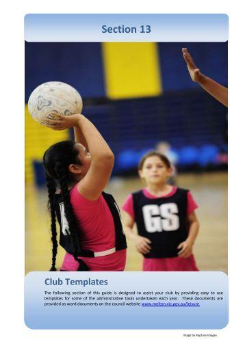 Section 13 Club Templates - Melton City Council
