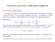 Momentum Conservation (Tipler-Mosca Chapter 8) The Center of ...
