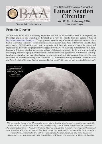 Vol 47, No 1, January 2010 - BAA Lunar Section