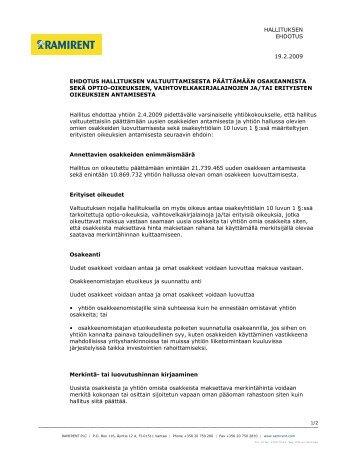 Ehdotus hallituksen valtuuttamisesta päättämään ... - Ramirent