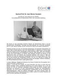 Nachruf Prof. Dr. med. Werner Hunstein - DGHO