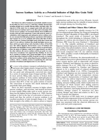 Counce, P.A. and K.A. Gravois. 2006. Sucrose Synthase Activity as a ...