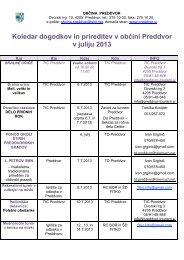 Koledar dogodkov in prireditev v občini Preddvor v juliju 2013