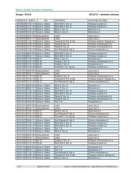 Plan zajec semestru 2012/13/zimowy - Wyższa Szkoła Turystyki i ...