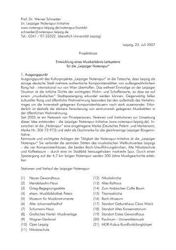 Prof. Dr. Werner Schneider Ltr. Leipziger Notenspur-Initiative www ...