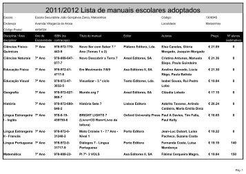 2011/2012 Lista de manuais escolares adoptados - Escola João ...