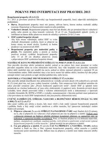 POKYNY PRO INTERPETACI ISSF PRAVIDEL 2013