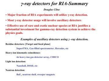 Gamma-ray Detectors for RIA