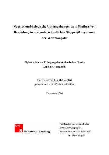 Vegetationsökologische Untersuchungen zum Einfluss von ...