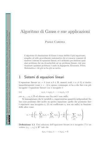 Algoritmo di Gauss e sue applicazioni - Caressa.it