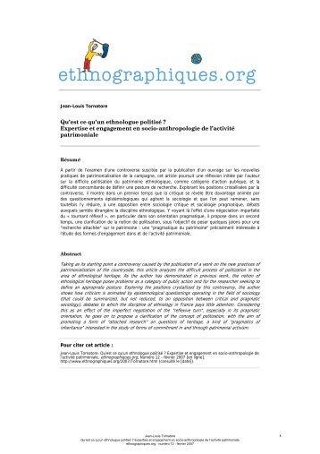 ethnographiques.org - Jean-Louis Tornatore - Qu'est ce qu'un ...