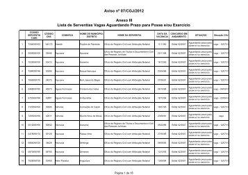 Anexo III – Lista de Serventias Vagas Aguardando Prazo ... - Recivil