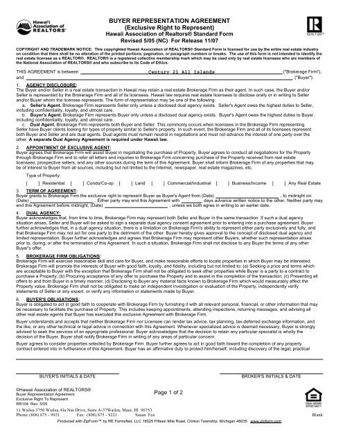 Buyer Representation Agreement Exclusive Right To
