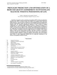 preflight prediction and optimization of a reduced gravity experiment ...