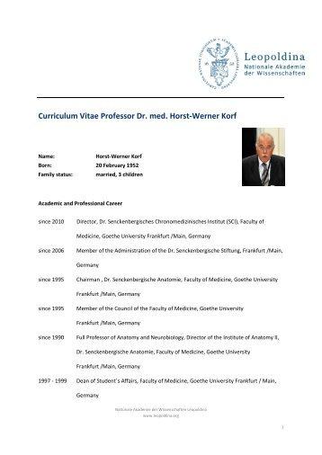 Curriculum Vitae Professor Dr. med. Horst-Werner Korf - Leopoldina