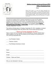 DaVinci Academy of Arts and Science PTO Officer Nomination Form
