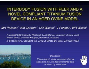 interbody fusion with peek and a novel compliant titanium fusion ...