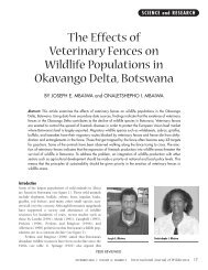 The Effects of Veterinary Fences on Wildlife Populations in ...