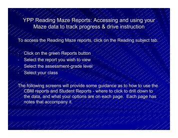 YPP Reading Maze Reports: Accessing and using ... - WCSnet.org