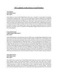 2011 Legislative Youth Advisory Council Members - Louisiana