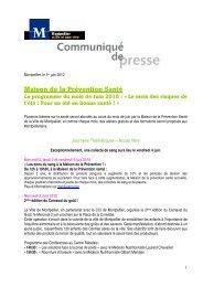 Maison de la Prévention Santé Le programme du mois ... - Montpellier