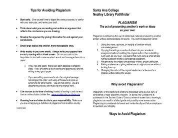 Plagiarism - Santa Ana College