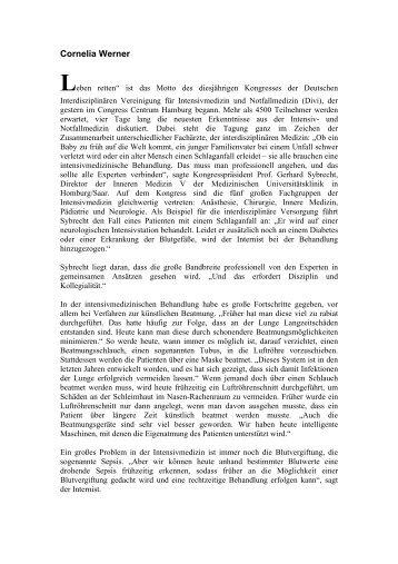 Cornelia Werner - Deutsche Interdisziplinäre Vereinigung für Intensiv