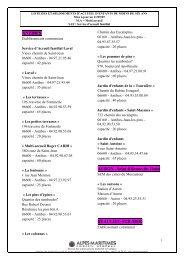 liste des etablissements d'accueil d'enfants de moins