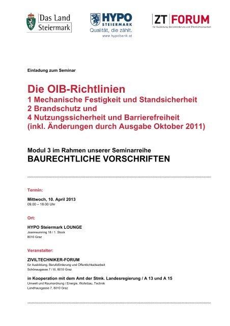 Die OIB-Richtlinien - Kammer der ZiviltechnikerInnen für Steiermark ...